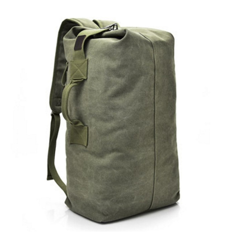 2019 Multi-purpose Military Canvas Backpack Solid Color Men Large Capacity Rucksack Travel Bag Leisure Free Delivery