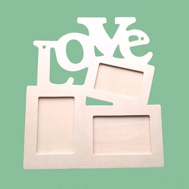 Fashion DIY Picture Frame Hollow Love Wooden Photo Frame Art Decor White Base White Base Photo