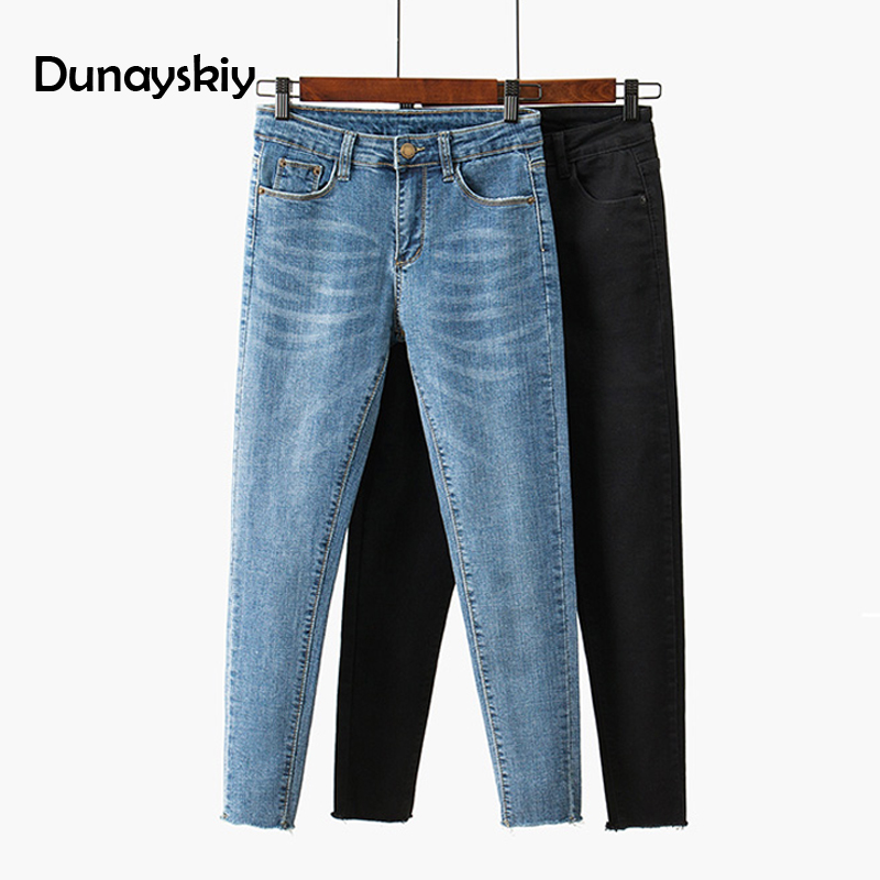Dunayskiy Skinny  Female Jeans  High Waist Blue And Black Cropped  Pencil Pants Spring Slim Thin Edge Students Women Jeans