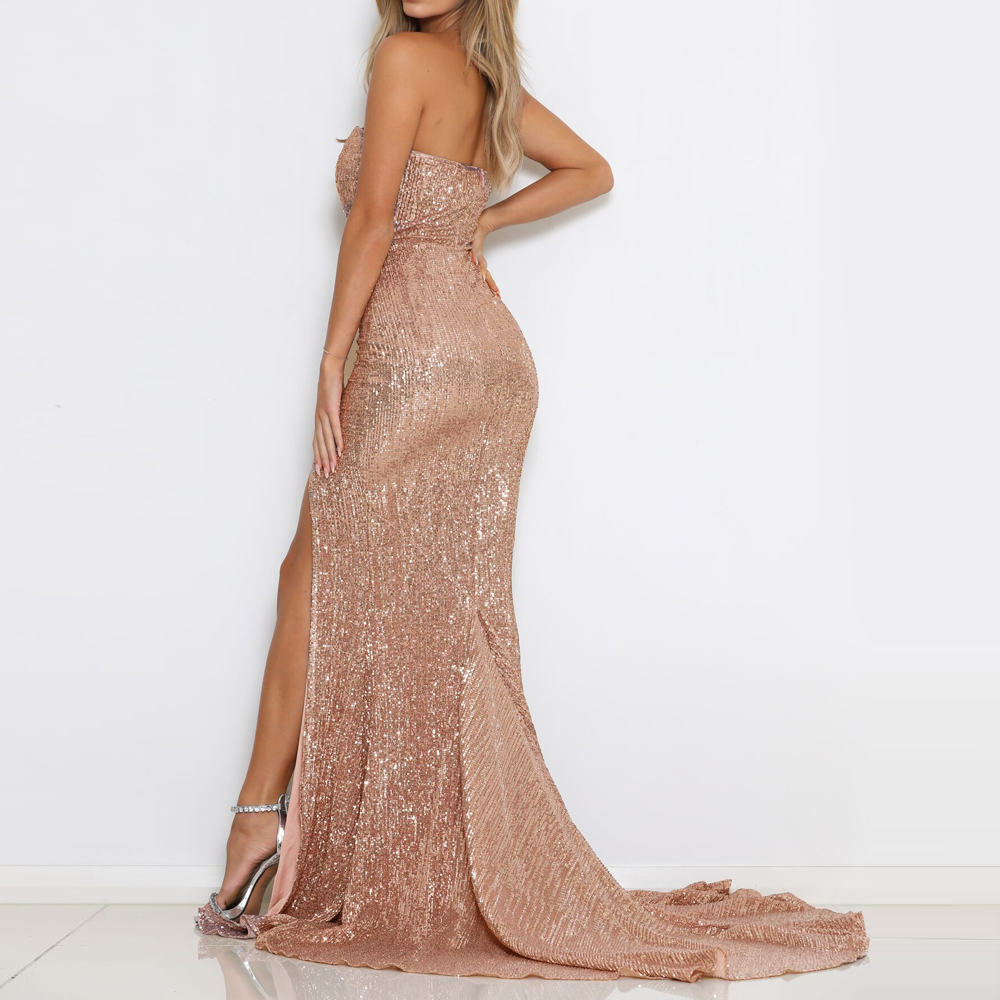 Split Front Champagne Gold Sequined Party Dress Strapless Bodycon Floor  Length Maxi Dress Padded Backless Slit Leg Mermaid Dress-in Dresses from  Women s ... 3d91fbc17681