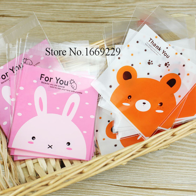 50pcs/lot 10X10cm Cute Plastic Bag rabbit bear Cookie packaging self-adhesive plastic bags for biscuits snack baking package