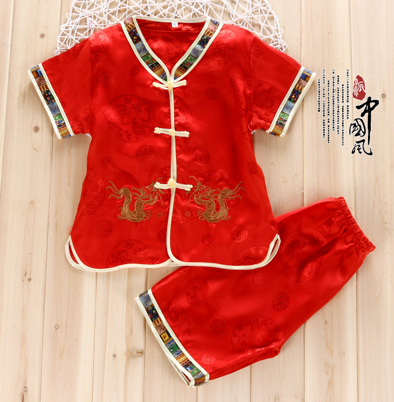 2016 New Children Suit Boy Cotton Outfit Chinese Style Dragon Chinese Spring Festival Kids Costumes Children Two Sets