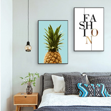 Pineapple Nordic Decorative Minimalist Canvas Printing Simple Alphabet Living Room Combination Painting Wall Art Pictures