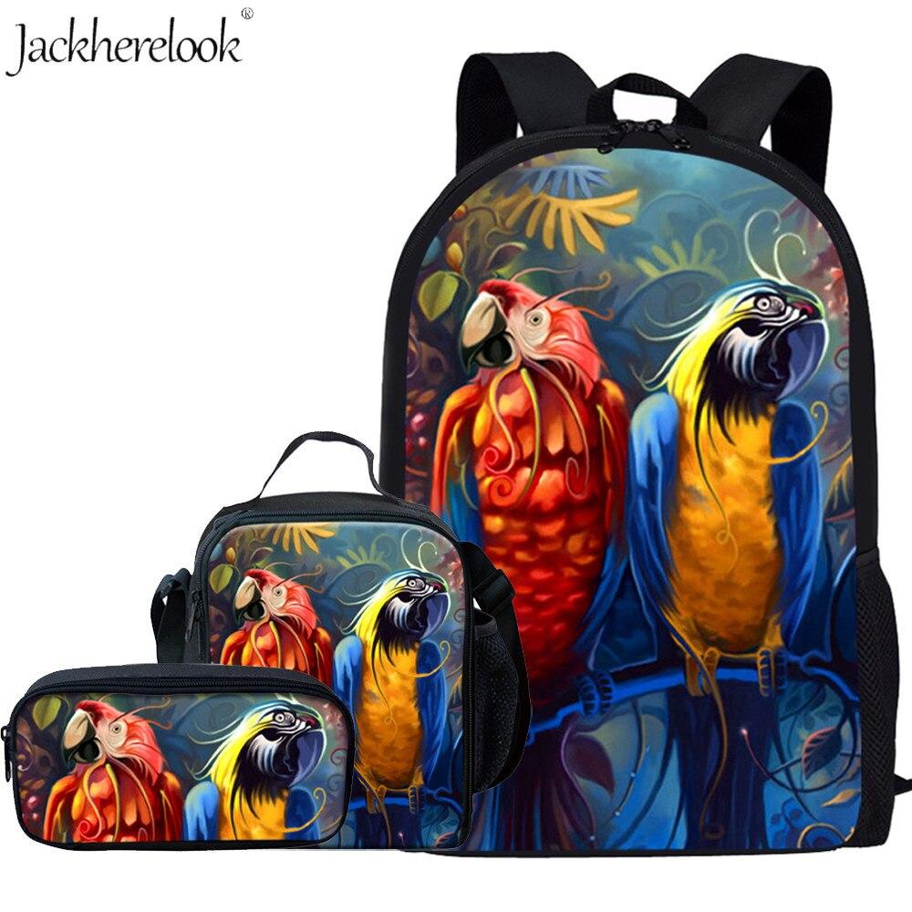 Jackherelook 3pcs set Animal Bird Parrot School Bags For Boys Girls Kids Backpack Children Schoolbag Student Bookbags Mochilas in School Bags from Luggage Bags