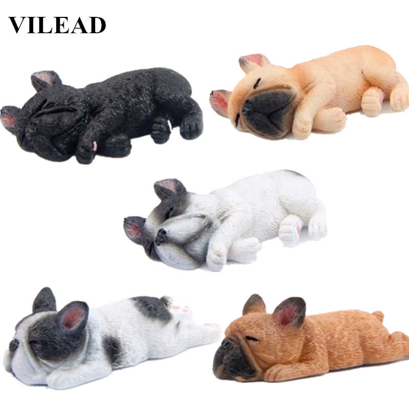 VILEAD 2'' Resin French Bulldog Figurine Cute Small Lying Dog Model Shiba Inu Dog Miniatures for Refrigerator Fridge Home Decor