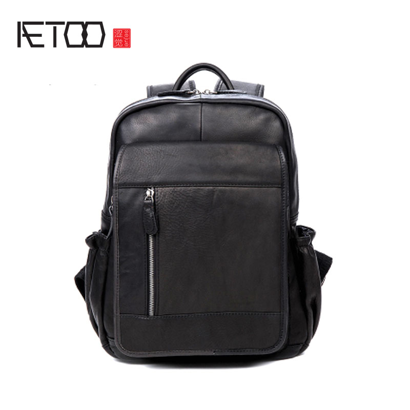 AETOO Casual men and women leather shoulder bag business trip cowhide backpack computer bag aetoo shoulder bag male leather backpack student bag fashion business computer bag head layer cowhide men and women backpack