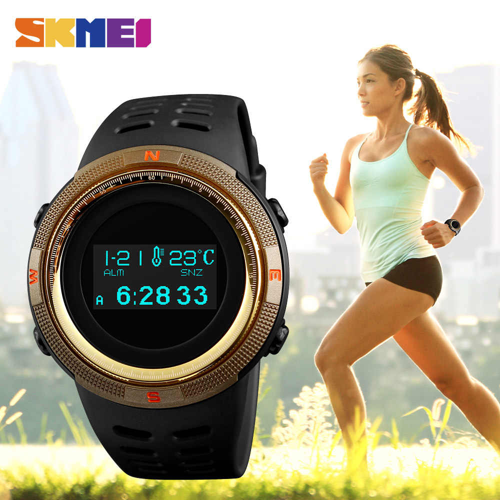 SKMEI Outdoor Sport Watch Pedometer Calorie fitness Women Watches Compass Thermometer Waterproof Digital Wristwatches 1360