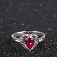 Heart Ring For Women 18K Gold Au750 Exquisite Processing Diamond Rings Gem Natural Ruby Rings Jewelry