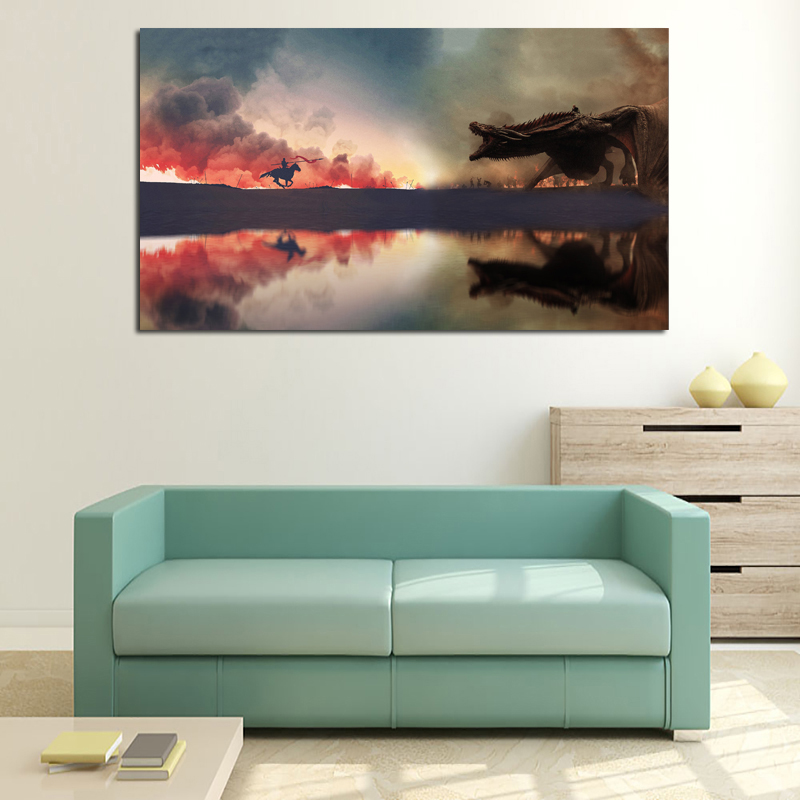 Image 3 - Fighting Game Of Thrones Art Canvas Posters Oil Painting Wall Pictures Prints Artwork Modern Home Bedroom Decoration Accessories-in Painting & Calligraphy from Home & Garden