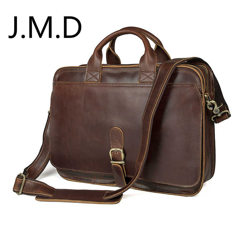 J.M.D 100% Men's Fashion Leather Bag Crazy Horse Leather  Cross Body Briefcase Sling Bag Shoulder Messenger Bag 6020