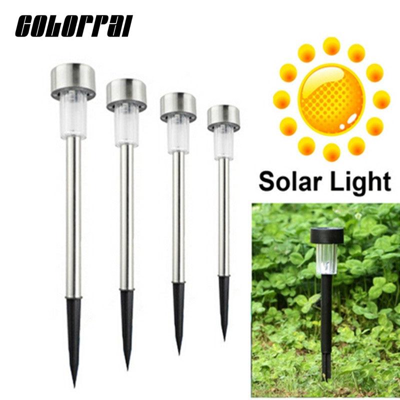 gratis forsendelse 10stk / lot rustfrit stål solplænelys til haven drorkative 100% solkraft udendørs sol lampe luminaria