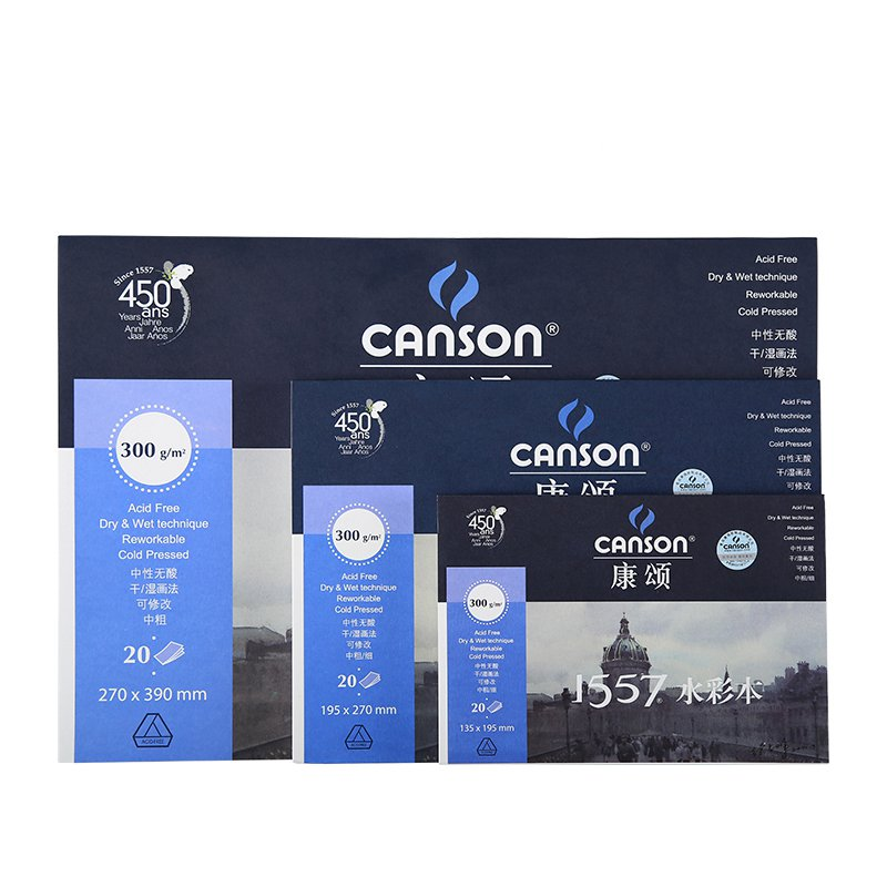 Canson Professional 300g/m2 Watercolor Painting Book 8K/16K/32K 20Sheet Drawing Water Color Paper Art Supplies Stationery