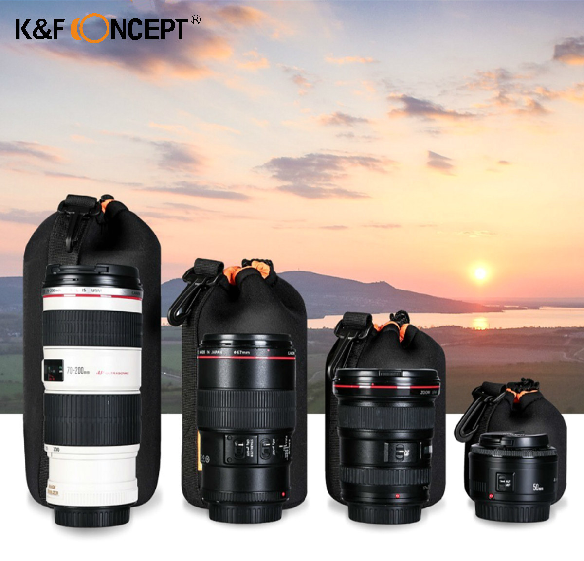 K & F CONCEPT чехол для объективов камеры Мягкий защитный портативный неопреновый чехол для объектива сумка 4 размера Canon Nikon DSLR Цифровые Сумки дл