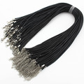 Wholesale 2mm Black Wax Leather Cord Necklace Rope 45cm Chain Lobster Clasp DIY Jewelry Accessories 50pcs/lot