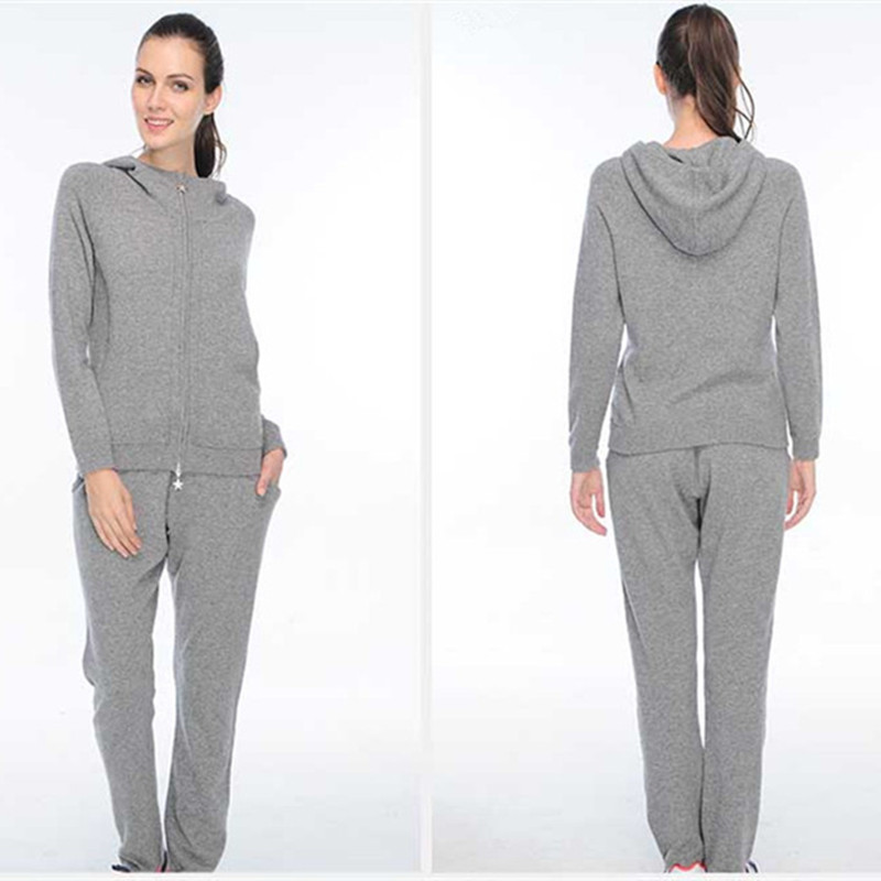 Cashmere Silk Blend Thick Knit Women's Hooded Sweatshirts Suits Zipper Coat Full Pant 2pcs/set Grey Color EU/S-M-L