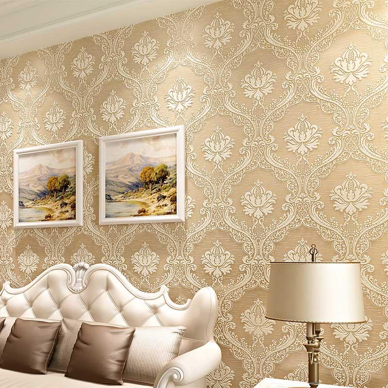 Luxury Damask 3D Embossed Non-woven Wallpaper Roll For Living Room Bedroom TV Background Walls Wallpaper Home Decor Papier Peint