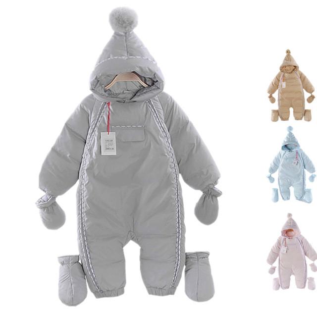 Mamelucos Del Bebé nuevo Invierno Niña Térmica Pato Abajo abrigo de Invierno traje para la nieve Del Bebé Lindo Con Capucha Mono Del Bebé Recién Nacido Ropa de Esquí traje