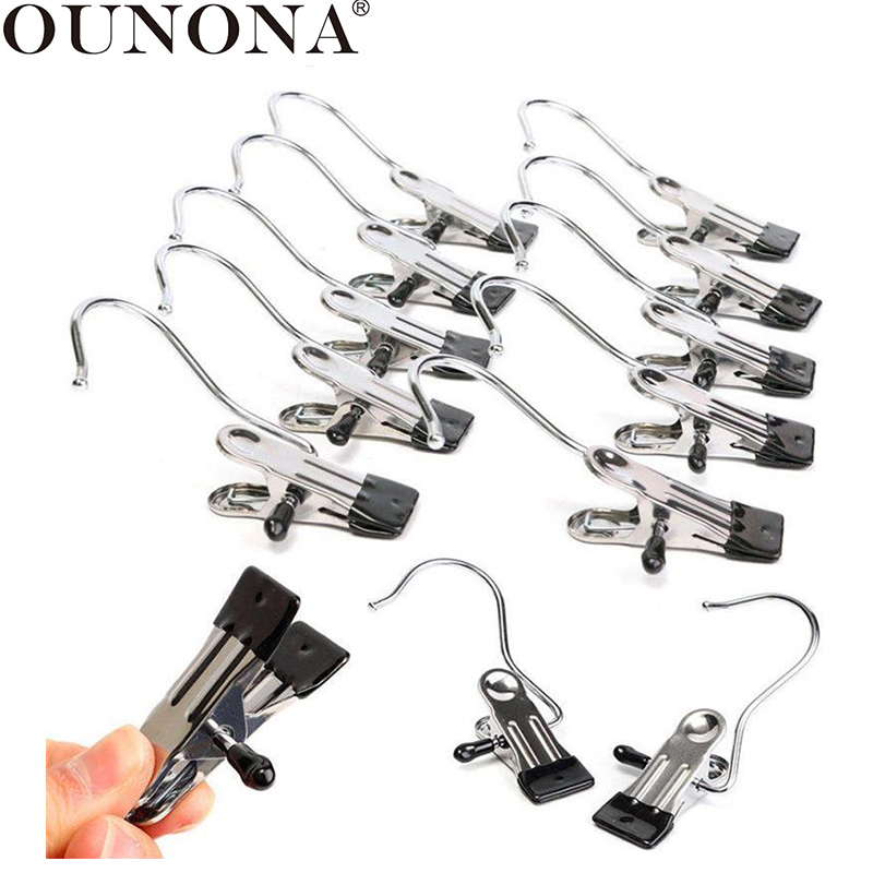 OUNONA Stainless Steel Clothes Pegs Photo Paper Hanger Pins Clips Household Clamps Underwear Drying Rack Socks Clips Pegs