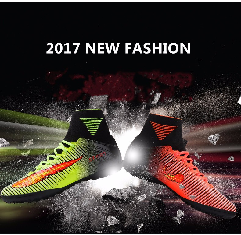 2017 High Quality Cheap Indoor Soccer Shoes Cleats High Ankle Kids Football Boots Superfly Original Boys Girls Sneakers1