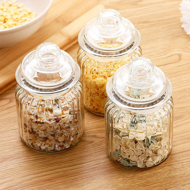 Online Shop Kitchen Glass Cereals Food Storage Seaked Tank Bottle