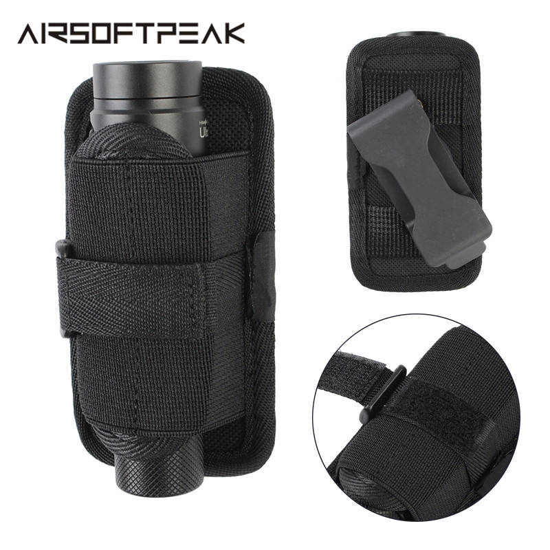 Outdoor Tactical 360 Degree Flashlight Pouch Durable Case Nylon Molle Holster Hunting For Belt Waterproof Easy Carry Lightweight