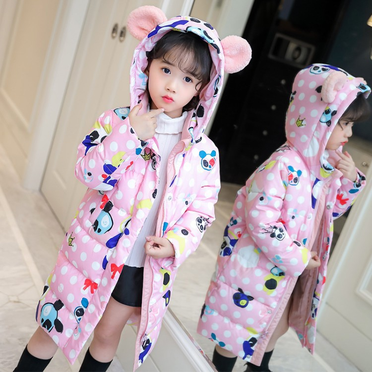 Girls 4-12 Years Winter Hooded Down Puffer Thick Warm Jacket Casual Fashion Lovely Pander Pattern Outerwear Coat JacketGirls 4-12 Years Winter Hooded Down Puffer Thick Warm Jacket Casual Fashion Lovely Pander Pattern Outerwear Coat Jacket