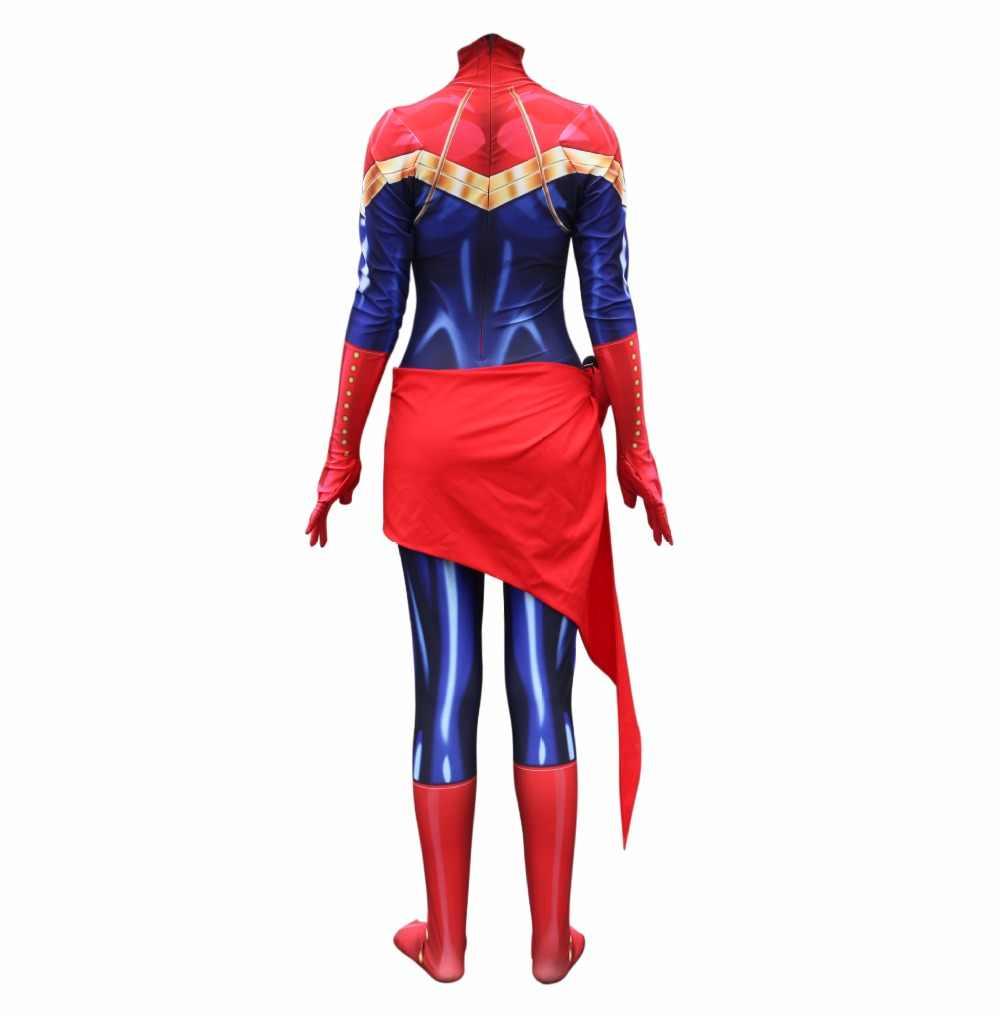 Kaptan Marvel Cosplay Kostüm Avengers Süper Kahraman Carol Dansçı Tulum Seksi Cosplay Zentai Takım Elbise Yetişkin Cadılar Bayramı kostüm