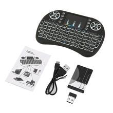 2,4 ГГц мини беспроводной пульт дистанционного управления клавиатура с сенсорной панелью мышь для Android tv Box Красочный светодиодный перезаряжаемый литий-ионный аккумулятор с подсветкой