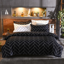Simple black twill three-piece household textile bedding suit large size Sheet, Pillowcase&Duvet Cover Sets 3&4 pcs