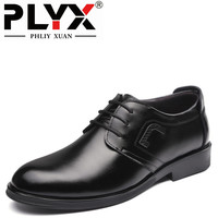 PHLIY XUAN New 2018 Fashion Men Dress Shoes Genuine Leather Lace Up Black Oxfords Business Men