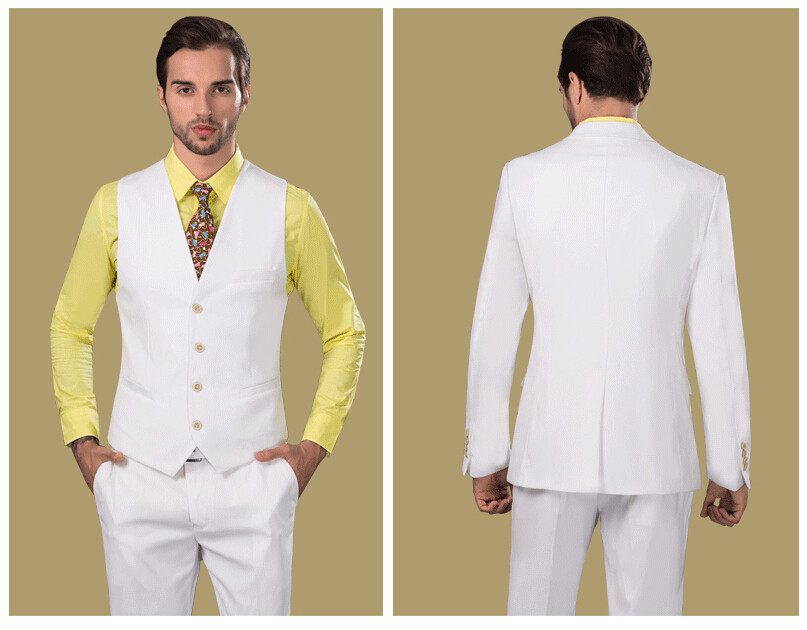 Retro British Exclusive Formal Tuxedo for Men White Men's Wedding ...