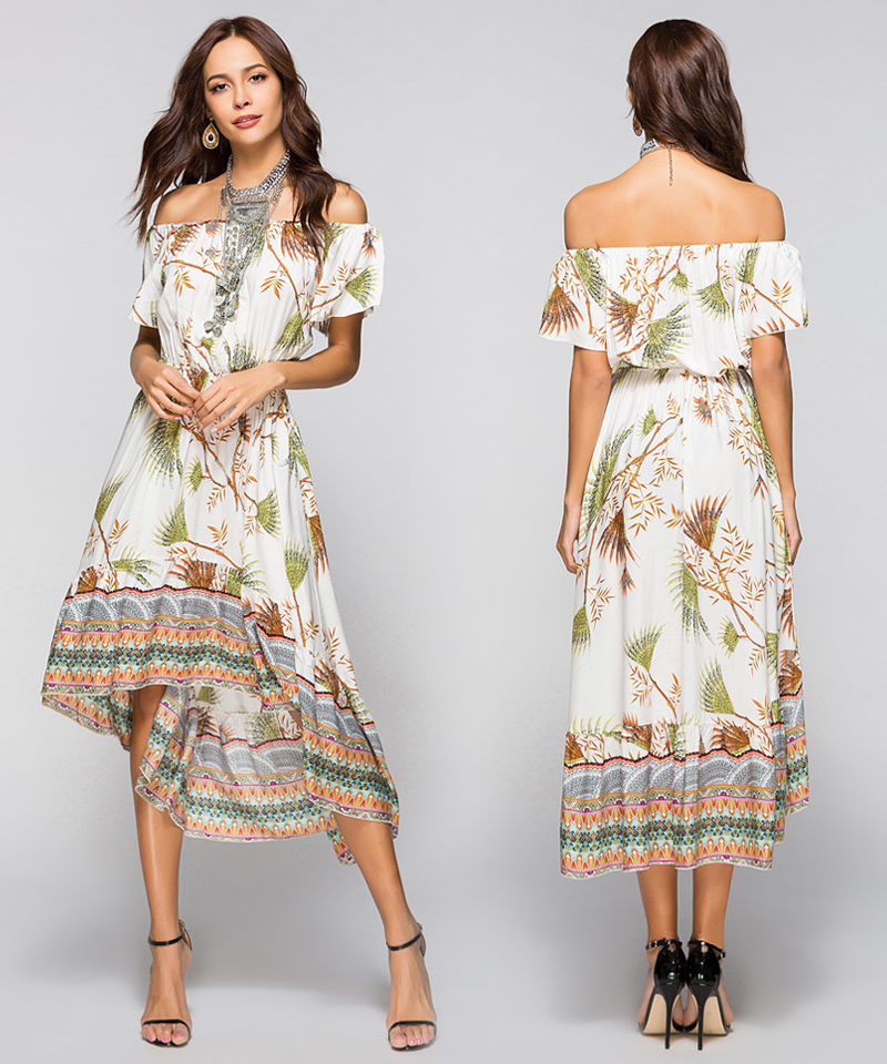 Women Summer Off Shoulder Bohemian Dress Boho Mid-Calf Wrap Dresses Casual Loose Beach Floral Print Beachwear Vestidos 11