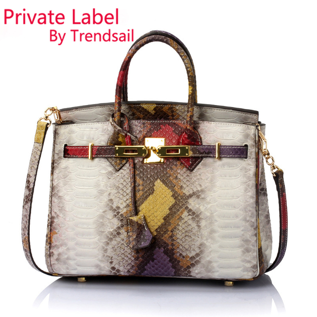 PRIVATE CUSTOM LABEL Wholesale genuine leather handbags Bag Pattern Python  Brand Summer 2016 Female Purse Tote d418ff6147