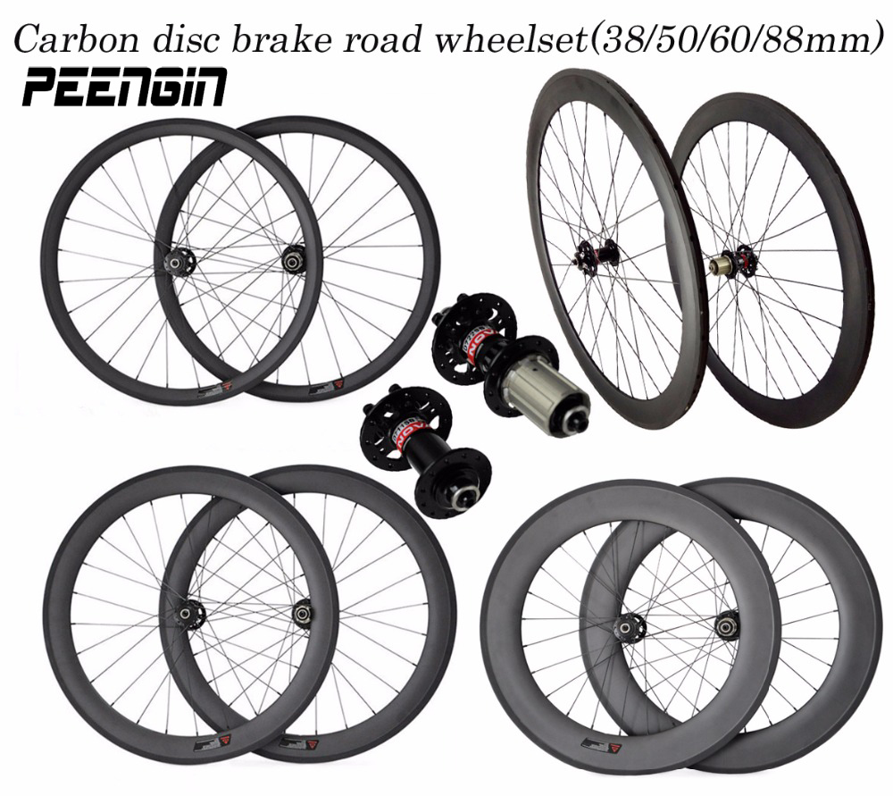 купить Excellent quality carbon wheels!durable 700C 38 50 60 88mm tubular clincher tubeless road bike wheelset Disc brake custom decals недорого