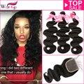 West kiss productos virginal del pelo con cierre de 3 o 4 manojos de cabello humano con cierre de Malasia paquetes armadura del pelo con cierre