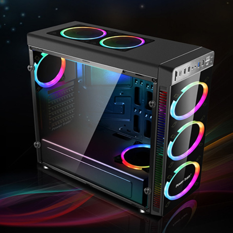 New Gaming Computer ATX PC Case Full Tower USB 3.0 with 4 RGB 120mm Cooling fans High quality computer case Tower For GFaming