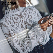 ZOGAA Elegant White Lace Blouse Shirt Sexy Hollow Out Embroidery Feminine Blouse Women Long Lantern Sleeve Summer Tops Female pink lantern sleeves hollow out lace blouse