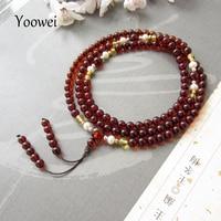 Yoowei 108 حبات الكهرمان الطبيعي الأساور لليوجا بوذا مالا الخرز جولة مجوهرات العنبر الصلاة التأمل كهرماني pulsera
