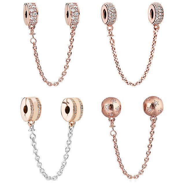 pandora bracelet rose gold safety chain