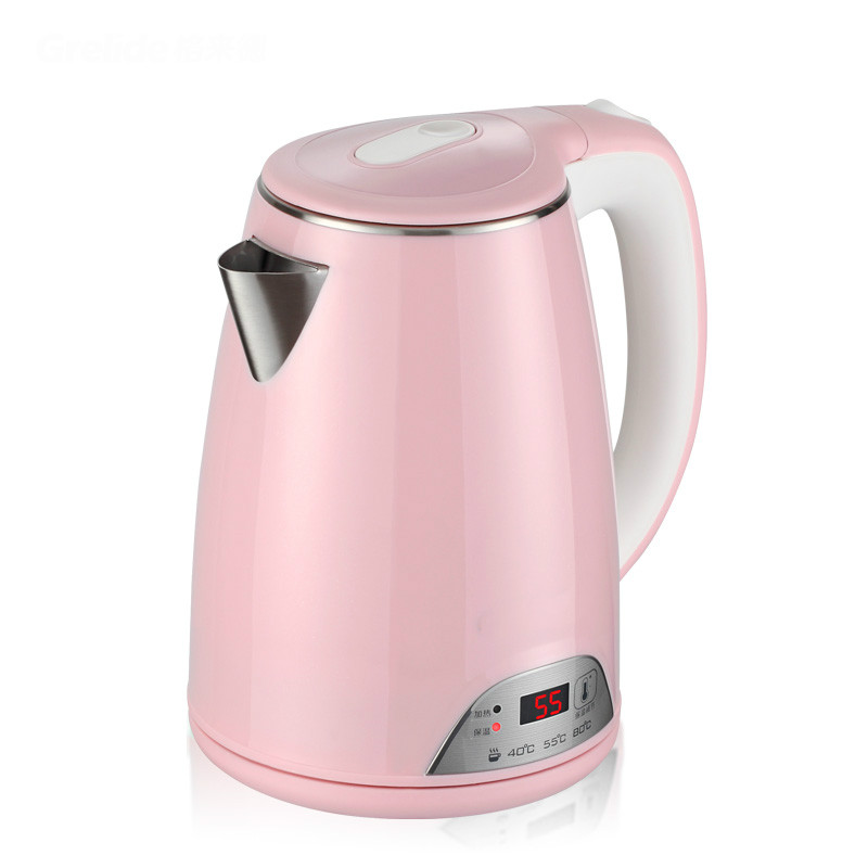 Bubble milk insulation display temperature thermostat 304 stainless steel electric kettle Safety Auto-Off Function thermostat temperature control kettle top base set socket electric kettle parts