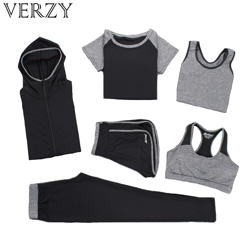 Women Yoga Set Fitness Running Exercise Breathable Pink Sport Bras+Tights+Short+Shirt+Vest+Jacket 6 Pieces Large Size Sport Suit verzy hot yoga set women fitness running exercise sport bra pants shirt coat shorts vest 3 colors breathable push up sports suit