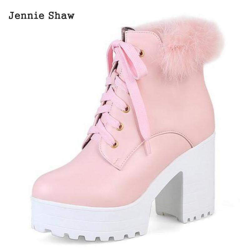 Snow White Sweet Pink Women Ankle Boots Female Rabbit Fur High Heel Platform Boots Sys-1416 2019 white women ankle boots lace rabbit fur cuff beadings lolita sweet low heel winter fall shoes lady student female boots