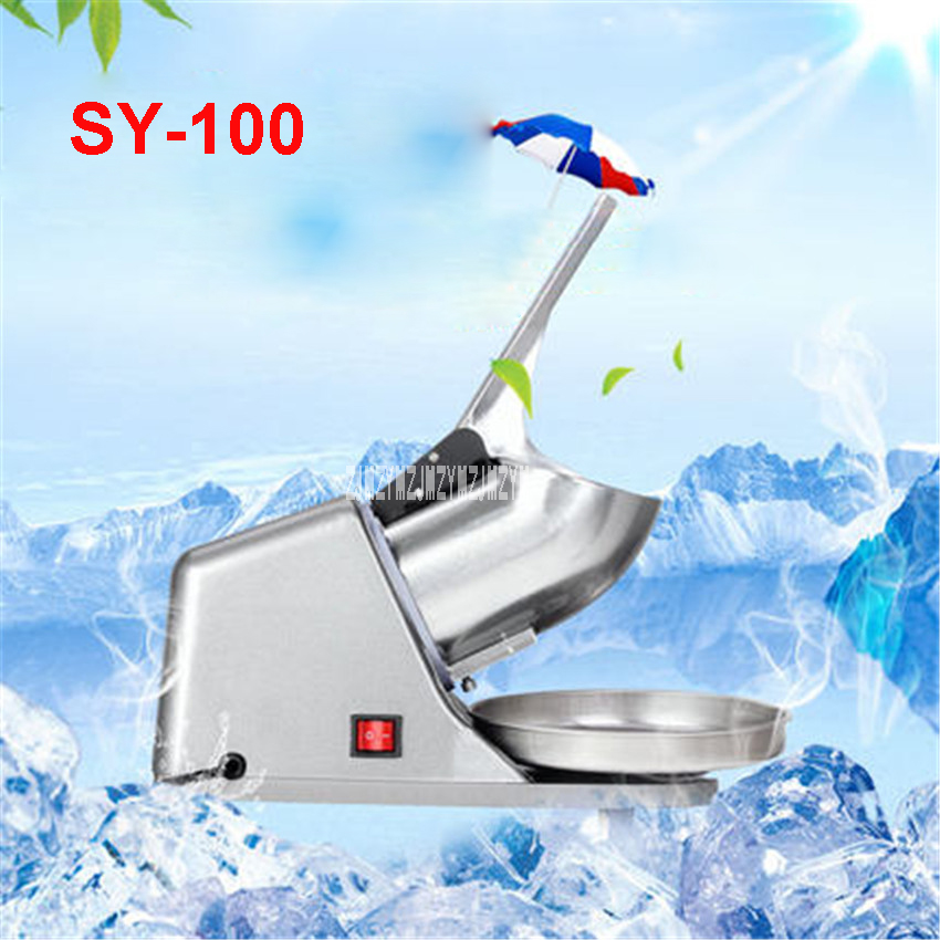 SY-100 Fully Stainless Steel Snow Cone Machine Ice shaver Electric Ice Crusher Commercial DIY Ice Cream Machine for Coffee Shop edtid electric commercial cube ice crusher shaver machine for commercial shop ice crusher shaver