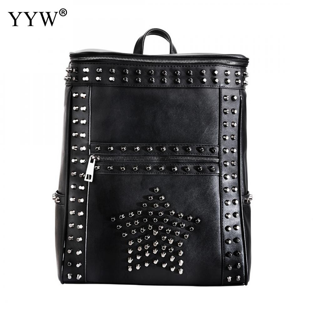 Fashion Design Women Backpack Leather Star Rivet Black Female Youth Satchel leisure women s satchel with rivet and black design