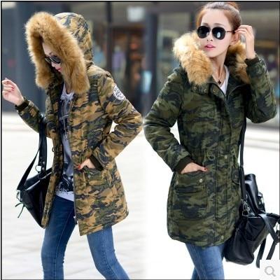 ФОТО Fashion 2015 Slim Warm Long Winter Coat Women Fur Collar Duck Down Jacket Casual Ladies Parka Womens Camouflage Overcoat H3642