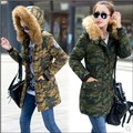 Fashion 2015 Slim Warm Long Winter Coat Women Fur Collar Duck Down Jacket Casual Ladies Parka Womens Camouflage Overcoat H3642
