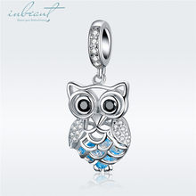 S925 Sterling Silver fit Pandora Bracelet Zircon Owl Charms Real 925 Blue Little Bird Beads for Pendant Necklace Chain Making(China)