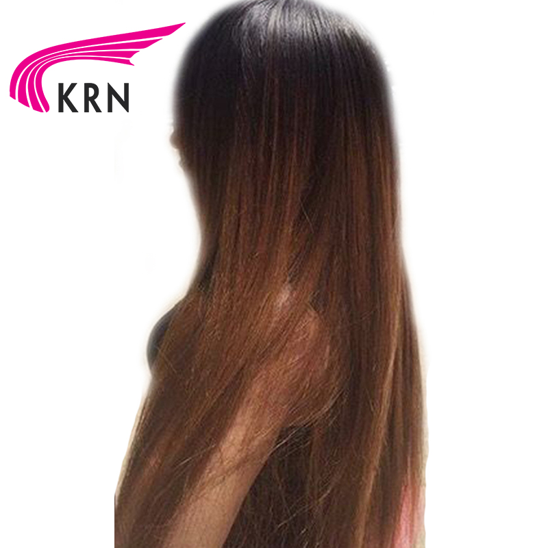KRN Ombre Pre Plucked Lace Front Human Hair Wigs With Baby Hair Straight Remy Glueless Brazilian Lace Front Wigs Middle Part
