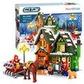 860 unids alanwhale invierno oficina de correos de la ciudad pueblo calendario de adviento navidad modelo de bloques de construcción ladrillos juguetes compatible con lego