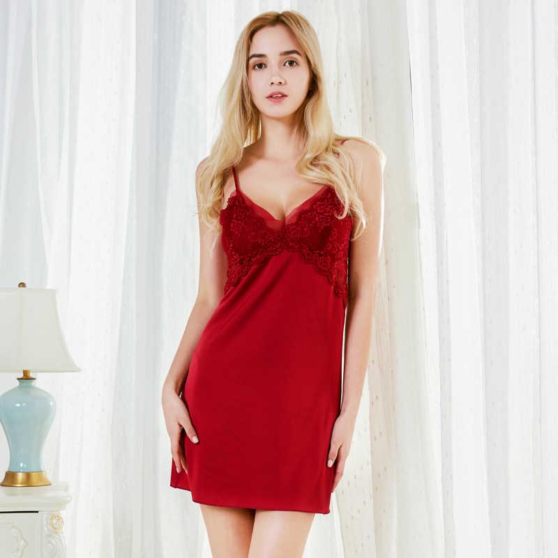 Новая мода шифон, атлас Для женщин Ночная рубашка облегающие рубашки сексуальная сорочки сетки кружева Тонкий Слип пижамы отделкой Ночная сорочка sp0050